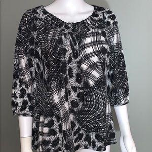 JM Collection Womans Black/White Blouse SZ.PL